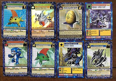 Lot of 8 Digimon Cards ~ Blackwargrowlmon BO-223, Veemon, Betamon, etc.