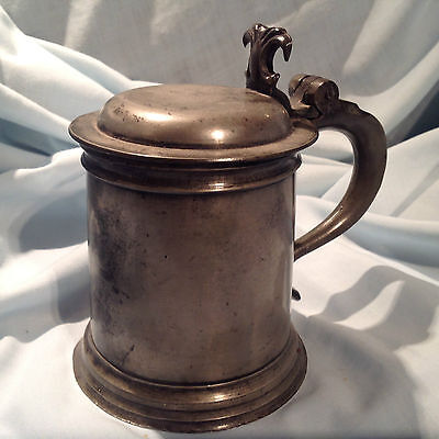 Vintage English Pewter Lidded Tankard London Mark