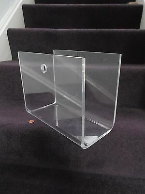 70's Style PERSPEX MAGAZINE RACK, Vintage CLEAR ACRYLIC, Retro NEWSPAPER HOLDER
