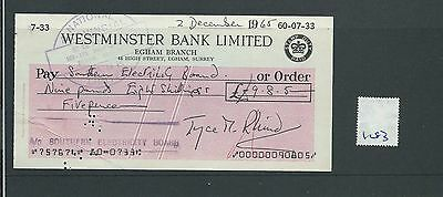 wbc. - CHEQUE - CH1283- USED -1965- WESTMINSTER BANK, EGHAM, SURREY