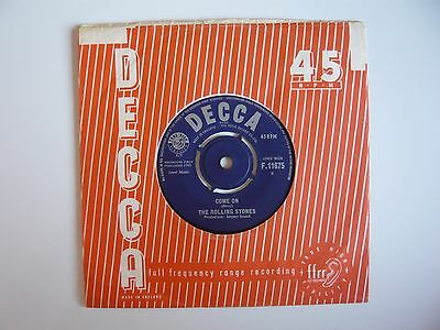 "The Rolling Stones Come On Orig 1963 UK Decca 7"" Vinyl Single 30937-T1-1C Matrix"