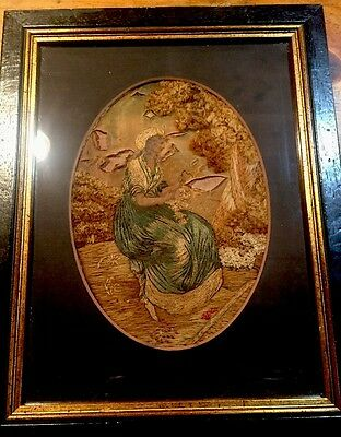 Antique Framed Embroidery Stumpwork Wool Silk Painted Woman In Garden