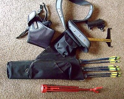 Assorted Archery Equipment, Arrows, Quiver,chest Guard, Arm Guard, Bow T Bar