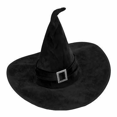Halloween Ladies Black Velour Tall & Twisty Salem Witch Witches Hat Fancy Dress