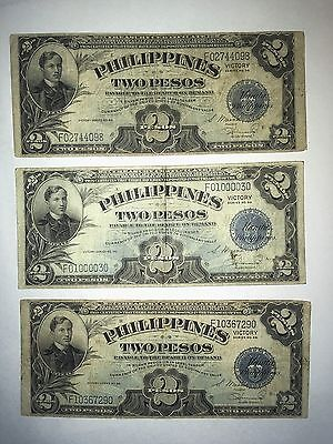 3 1944 US / Philippines 2 Pesos ( 3 Notes ) Victory
