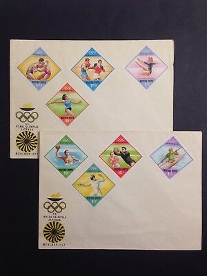 Vintage Set of 1972 MUNICH OLYMPICS Stamps on Cover x 2 Magyar Posta, Hungary