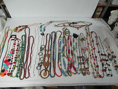 LOT OF 26 Colorful Wooden & Beaded Costume Necklaces New