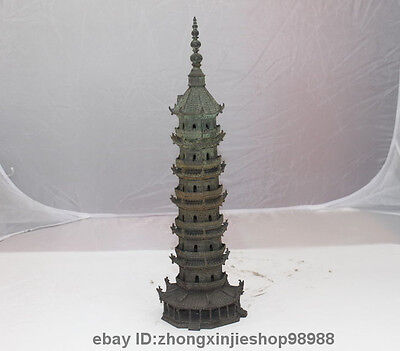 "14""Chinese old Pure Bronze Dragon Buddhism Temple Tower stupa pagoda statue"