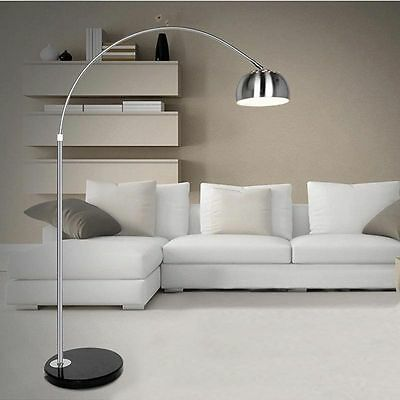Arco Style Arc Floor Lamps Silver Chrome Adjustable Pole With Black Marble Base