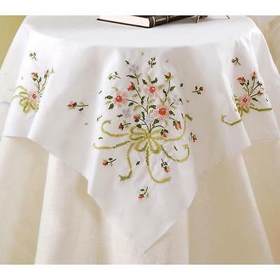 Bucilla Table Topper Bridal Bouquet 40 x 40 Stamped Cross Stitch New