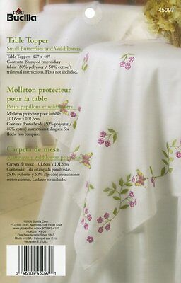Bucilla Table Topper Small Butterflies & Wildflowers 40X40 Stamped Cross Stitch