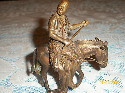 Antique Signed Bergman-Geschutzt Viennese Bronze Man On Donkey