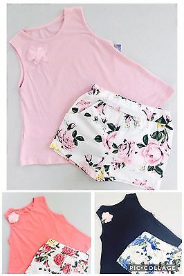 🖤 Girls Shorts & Vest 2 Piece Set Floral Shorts Top Ages 2-12 Kids Childrens