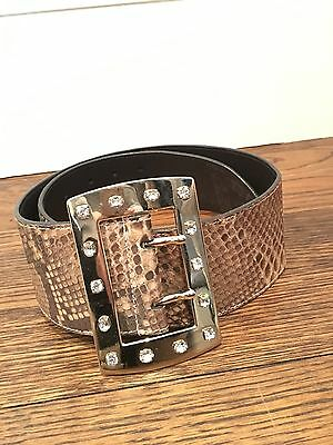 Valentino Authentic Python Leather Belt with Gold Jeweled Buckle