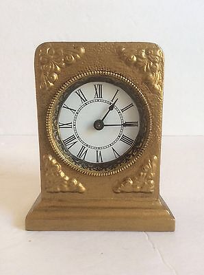Antique Western Alarm Desk Clock in Golden Cast Iron Case, Working