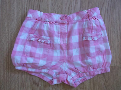 Girls Pink Check Cotton Shorts from Matalan age 12-18 Months