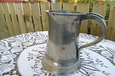 Antique Quart Pewter Tankard. 1836.