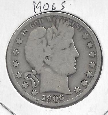 1906 S Barber Half Dollar, nice circulated 90% Silver US coin