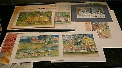 Lot Of 18 Watercolor Paintings, 1980's Most Signed, Hutchinson, Unframed