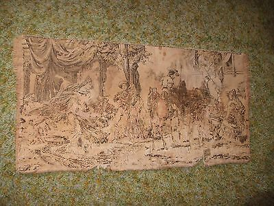Vintage/Antique Original Wall/Table Runner Tapestry Colonial Design 38X18-1/2""
