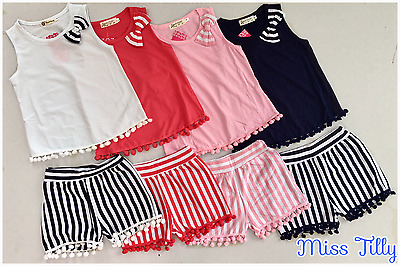 🖤 Girls Pom Pom Shorts & Vest Top 2 Piece Set Ages 2-12 Kids White Pink New