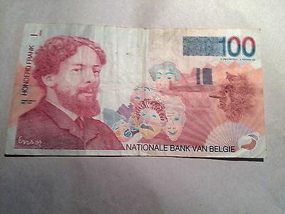 Belgium 100 Francs Note In Circulated Condition