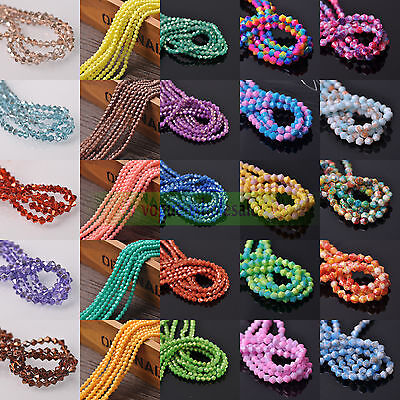 3/4/6/8mm Glitter Opaque Bicone Faceted Crystal Glass Spacer Loose Beads Jewelry