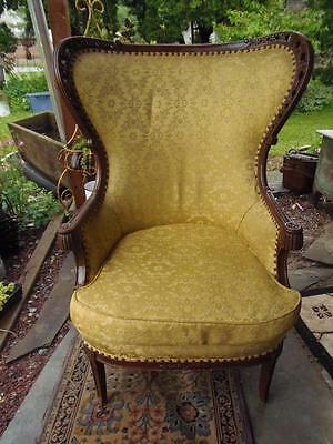 Antique Wing Back Chair Elaborate Carved Wood Fireplace Chair