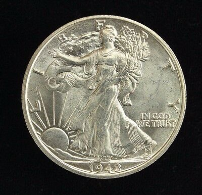 1942 D Walking Liberty Half Dollar 50C Choice Au ++ (3)
