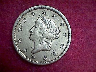 1849 $1 Liberty Head Gold Piece Closed Wreath Type 1 With L