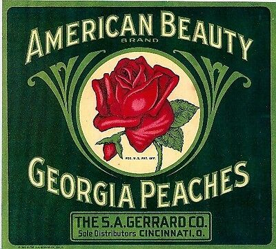 American Beauty Brand Georgia Peaches S.a. Gerrard Co. Cincinnati, O. Repro