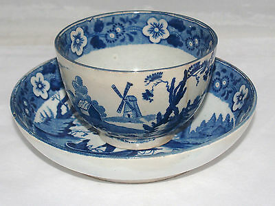 ANTIQUE CAUGHLEY WORCESTER 18th CENTURY ENGLISH PORCELAIN BLUE CUP AND SAUCER