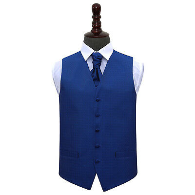 DQT Greek Key Patterned Royal Blue Mens Wedding Waistcoat & Cravat Free Pin