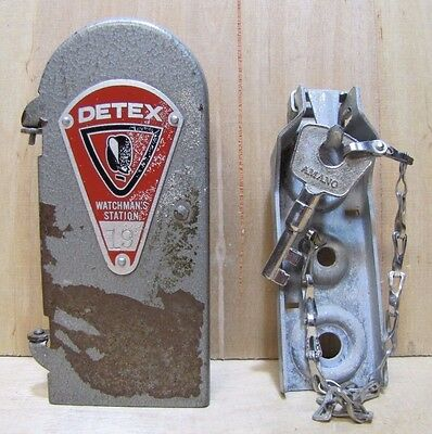 Old Detex Watchmans Station Box w Key Industrial Plant Security Tool Steampunk