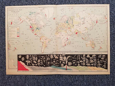 "Vintage Book Map Geological Chart of the World 11 7/8"" x 17 3/4"""