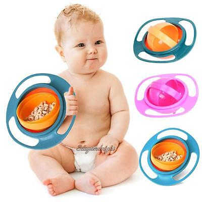 Baby Kid Feeding Dish Cute Baby Gyro Bowl Universal 360° Rotate Spill-Proof Bowl
