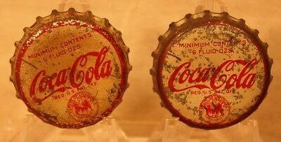 2 Vintage Coca Cola Bottle caps (crowns)used w/tax stamp