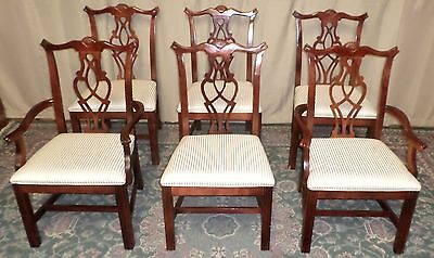 HICKORY WHITE CHIPPENDALE DINING CHAIRS Mahogany Upholstered  VINTAGE SET OF 6