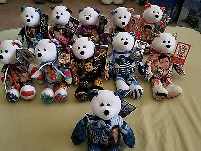 "11 NEW Gallery Treasures 9"" Elvis Presley BEANIE BEAR W/ Original Tags Attached"