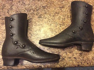 Antique cast iron mannequin button shoe boots R PALMENBERG  NY HTF matching pair
