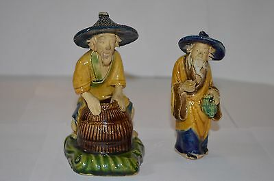 2 Vintage Clay Chinese Figures Made In China