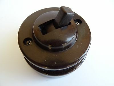 Vintage Bakelite Light Switch Tucker Round Ceramic Toggle 1 Gang 2 Way Restored