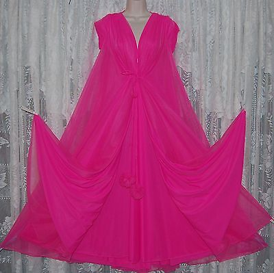 Vtg Pink Lucie Ann Pom Pom Peignoir Robe Nightgown Gown Negligee Gown SET M 36
