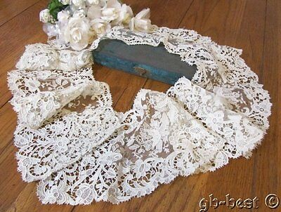 Museum Antique Brussels Needle Net LACE Point De Gaze Collar ORNATE Large