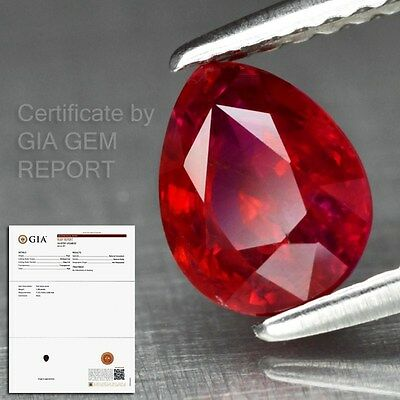 Rare! 1.28ct 7x5.5mm Pear Natural Unheated Red Ruby *Full Report GIA Certified