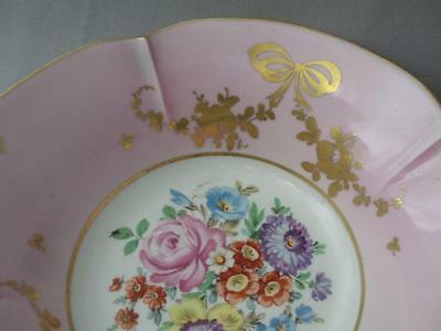 Antique French Vtg Limoges Porcelain Pink & Gold Hand Painted Flowers Bowl Dish