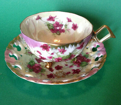Lefton Footed Tea Cup And Reticulated Saucer - Iridescent Ivory And Pink Violets