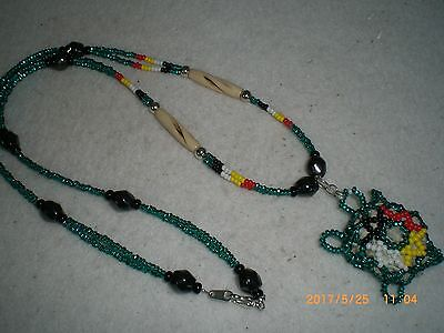 Beaded Native American Sioux Sage Filled Turtle Necklace                 bnl3 jl