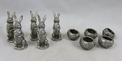 Vtg Metzke - Bunny Rabbit / Cabbage Figurines - Tic Tac Toe Set - Pewter