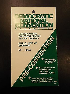 Democratic National Convention Atlanta, GA 1988 Pre-Convention Pass